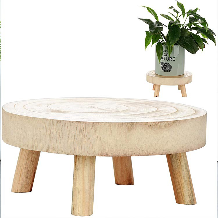 Mini Wood Stool Wooden Plant Stand