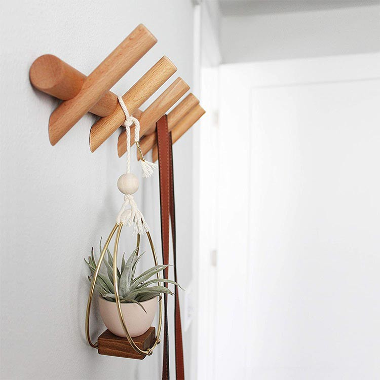 Wood wall coat rack