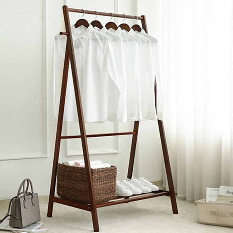 Wooden Clothes Rack Display Shelf